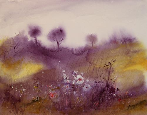 Petra Ackermann, Blumen am Wegrand, Pflanzen: Blumen, Landschaft: Hügel, Gegenwartskunst, Expressionismus