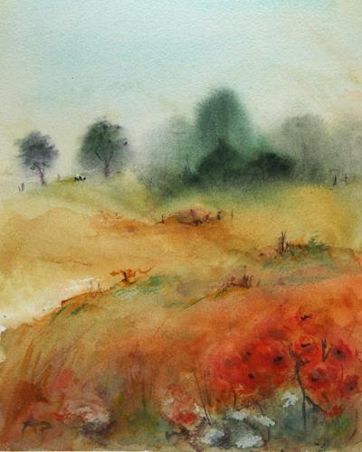 Petra Ackermann, Summertime, Landschaft: Sommer, Pflanzen: Blumen, Gegenwartskunst, Expressionismus