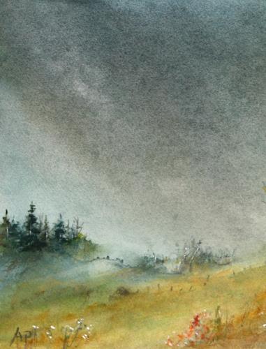 Petra Ackermann, Ein Regentag, Landschaft: Hügel, Diverse Landschaften, Gegenwartskunst, Expressionismus