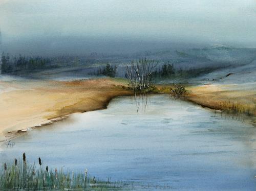 Petra Ackermann, Wintertime, Landschaft: See/Meer, Landschaft: Winter, Gegenwartskunst, Expressionismus