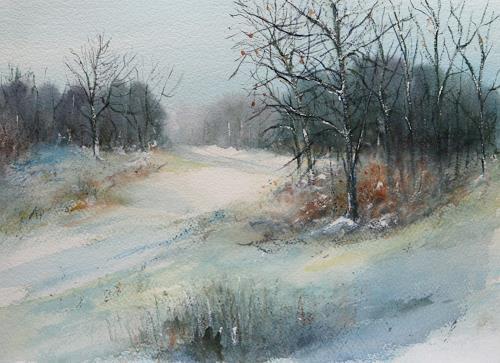 Petra Ackermann, Wintertime  2, Landschaft: Winter, Natur: Wald, Gegenwartskunst, Expressionismus