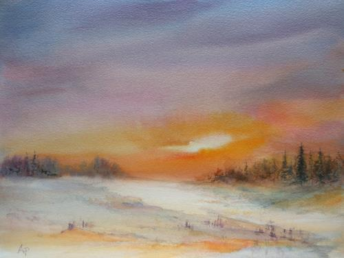 Petra Ackermann, Winter Sonne, Landschaft: Ebene, Landschaft: Winter, Gegenwartskunst, Expressionismus