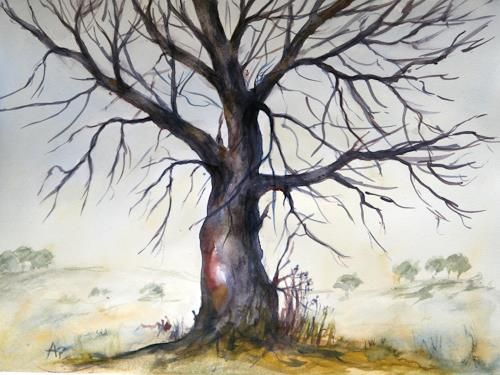 Petra Ackermann, The Old Oak Tree, Diverse Landschaften, Pflanzen: Bäume, Gegenwartskunst