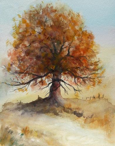 Petra Ackermann, Oak Tree 1, Pflanzen: Bäume, Landschaft: Herbst, Gegenwartskunst