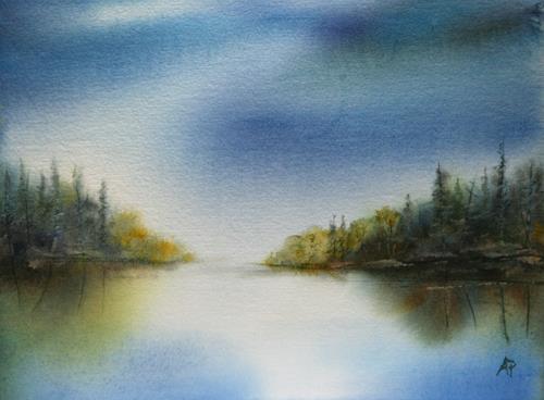 Petra Ackermann, Lake, Landschaft: See/Meer, Natur: Wald, Gegenwartskunst
