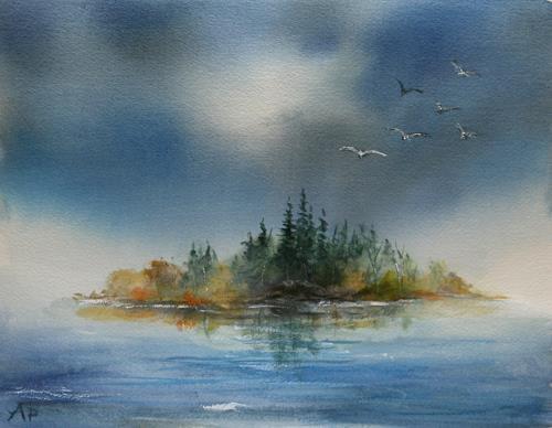 Petra Ackermann, Island  II, Landschaft: See/Meer, Natur: Wasser, Gegenwartskunst
