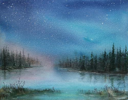 Petra Ackermann, Northern Lights  3, Landschaft: Winter, Landschaft: See/Meer, Gegenwartskunst, Expressionismus