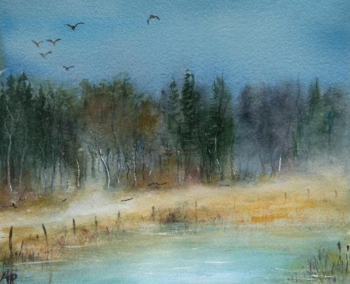 Petra Ackermann, Waldsee, Landschaft: See/Meer, Natur: Wald, Gegenwartskunst