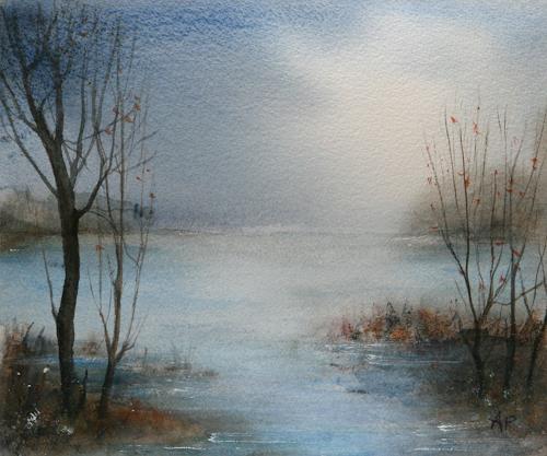 Petra Ackermann, Am See, Landschaft: See/Meer, Natur: Wasser, Gegenwartskunst