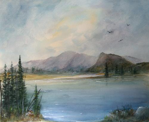 Petra Ackermann, Dreamscape, Landschaft: See/Meer, Landschaft: Berge, Gegenwartskunst, Expressionismus