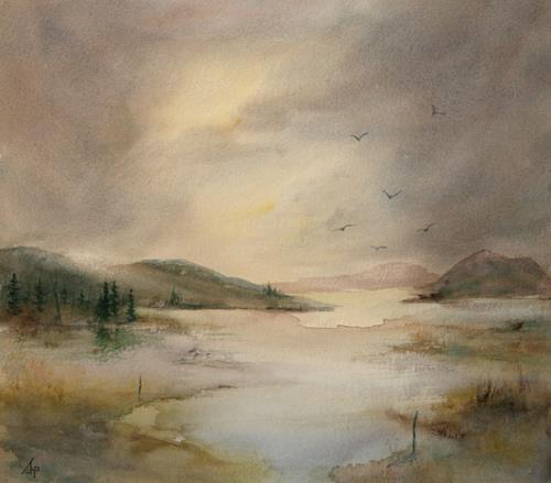 Petra Ackermann, EverDream 2, Landschaft: Berge, Natur: Wasser, Gegenwartskunst, Expressionismus