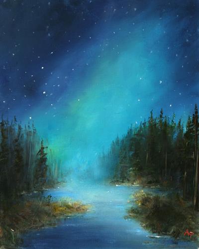 Petra Ackermann, Mystical Night, Diverse Landschaften, Natur: Wald, Gegenwartskunst