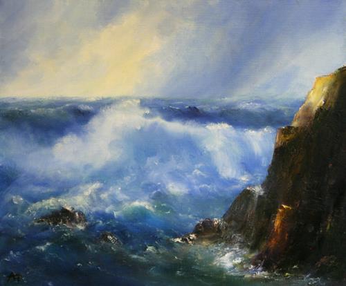 Petra Ackermann, The Wave, Landschaft: See/Meer, Natur: Wasser, Gegenwartskunst, Expressionismus