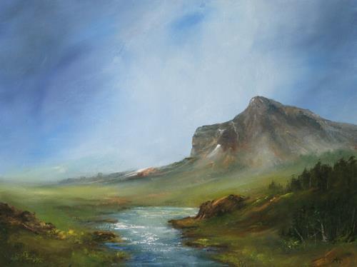 Petra Ackermann, The Mountain, Landschaft: Berge, Natur: Wald, Gegenwartskunst, Expressionismus