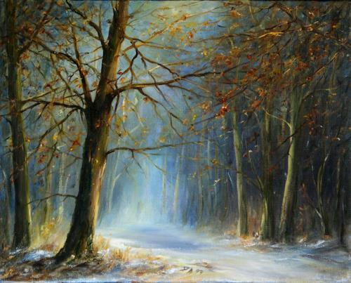 Petra Ackermann, Winter Magic, Landschaft: Winter, Natur: Wald, Gegenwartskunst, Expressionismus