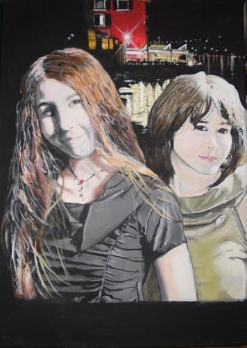 Lukas Stoffel, Die zwei Schwestern Klein, Menschen: Gruppe, Menschen: Porträt, Hyperrealismus, Abstrakter Expressionismus