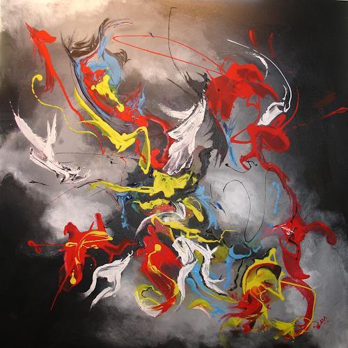 Helga Anders-Faber, Freier Flug, Abstraktes, Bewegung, Abstrakte Kunst, Abstrakter Expressionismus