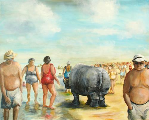 Helga Anders-Faber, Strandspaziergang, Fantasie, Gesellschaft, Realismus, Abstrakter Expressionismus