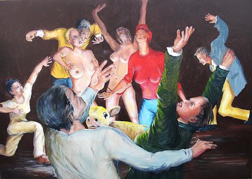 Helga Anders-Faber, der Tanz ums goldene Kalb, Gesellschaft, Menschen: Gruppe, expressiver Realismus, Abstrakter Expressionismus