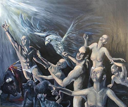 Helga Anders-Faber, Aufstand der gemarterten Seelen 3, Diverse Gefühle, Fantasie, Gegenwartskunst, Abstrakter Expressionismus