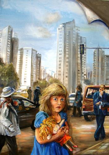 Helga Anders-Faber, wohin (adonde), Menschen: Kinder, Bauten: Hochhaus, Realismus
