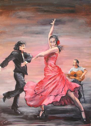 Helga Anders-Faber, Flamencogruppe, Menschen: Gruppe, Bewegung, Gegenwartskunst
