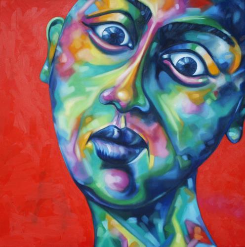 Anne Radstaak, Nicht jede Sonnencreme hält, was sie verspricht., Menschen: Gesichter, Gefühle: Trauer, Neo-Expressionismus, Abstrakter Expressionismus