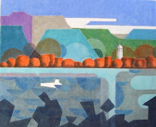 Manfred Riffel, Fraueninsel am Chiemsee, Landschaft: See/Meer, Art Déco, Expressionismus