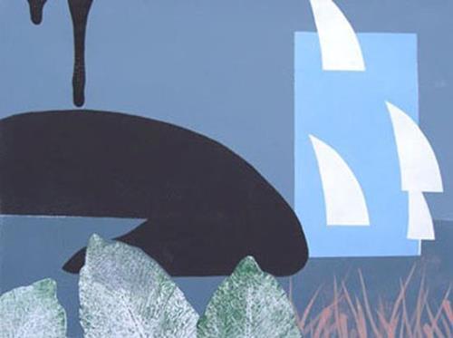 Manfred Riffel, Chiemsee - symbolische Darstellung der zunehmenden Verschmutzung durch die Tiroler Ache, Landschaft, Fantasie, Abstrakte Kunst