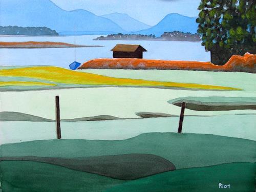 Manfred Riffel, Chiemsee - die Bucht bei Schafwaschen, Landschaft: See/Meer, Gegenwartskunst, Expressionismus