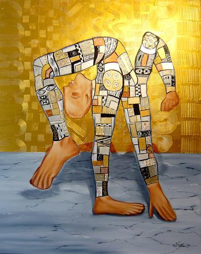 Mariola Wloch, Der Verbiegungskünstler in schillernder Bekleidung, Diverse Menschen, Bewegung, Surrealismus, Abstrakter Expressionismus