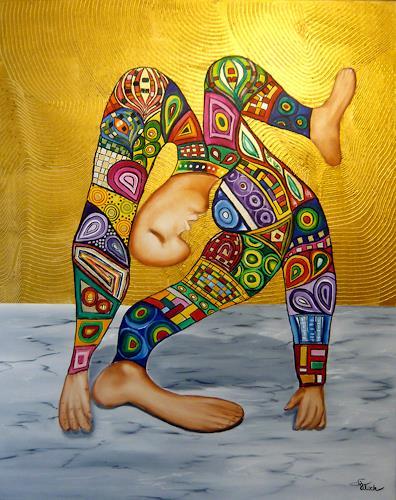 Mariola Wloch, Der Artist effektvoll bekleidet, Bewegung, Diverse Menschen, Surrealismus, Abstrakter Expressionismus