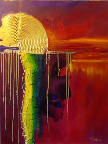Mariola Wloch, Abstrakter Sonnenuntergan, Abstraktes, Abstrakte Kunst