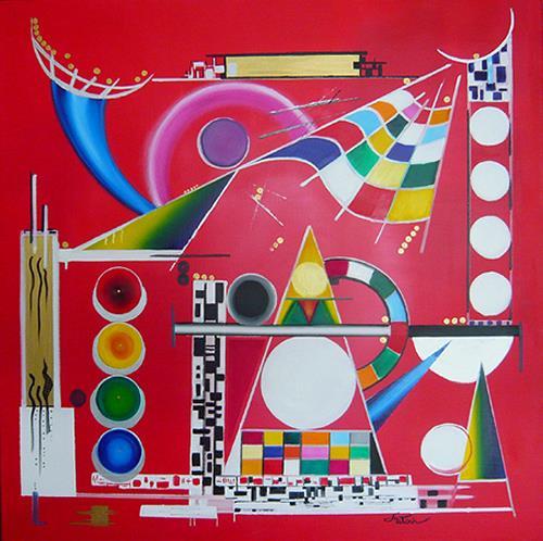 Mariola Wloch, Der rote Distrikt, Abstraktes, Technik, Konstruktivismus