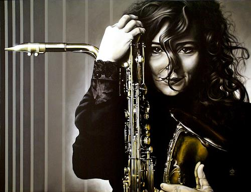 Andreas Baumann, Frau mit Saxofon, Menschen: Frau, Musik: Musiker, Realismus, Expressionismus