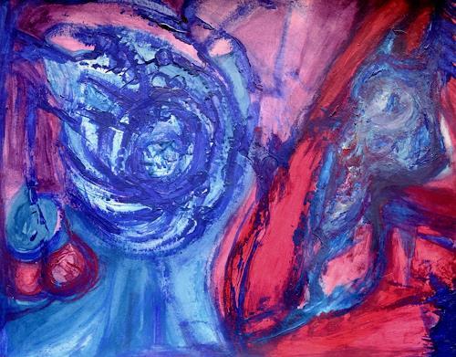 Gisela Zimmermann, Blue Faces, Abstraktes, Abstraktes, Abstrakte Kunst