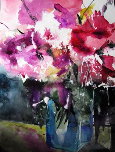 Kerstin Sigwart, Pfingstrosen 4, Pflanzen: Blumen, Expressionismus