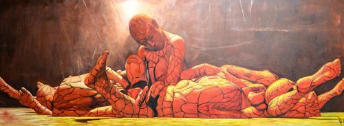 "Michael Külbel, Der Rohstoff Mensch"" 150x50 cm, Gesellschaft, Moderne, Abstrakter Expressionismus"