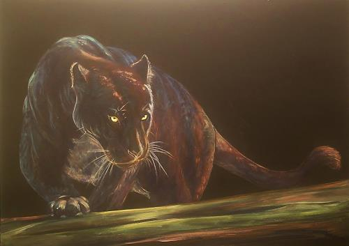 Amigold, Schwarzer Panther - pantera nera, Tiere: Land, Abstrakter Expressionismus