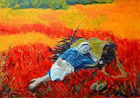 Amigold-Menschen-Frau-Landschaft-Moderne-Abstrakte-Kunst
