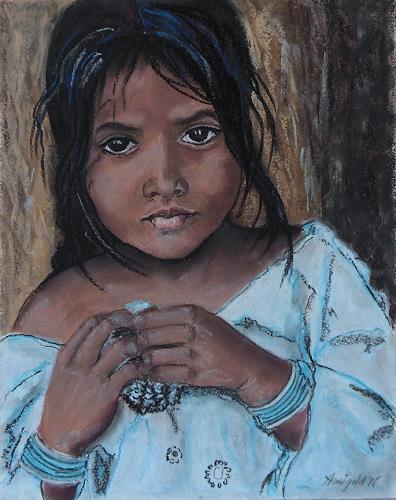 Amigold, Tamilmädchen, Menschen: Porträt, Menschen: Kinder, Expressionismus