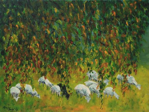 Amigold, Schafe in der Herbstsonne, Tiere: Land, Gegenwartskunst