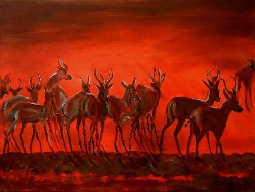 Amigold, Abendstimmung in Afrika, Tiere: Land, Gegenwartskunst
