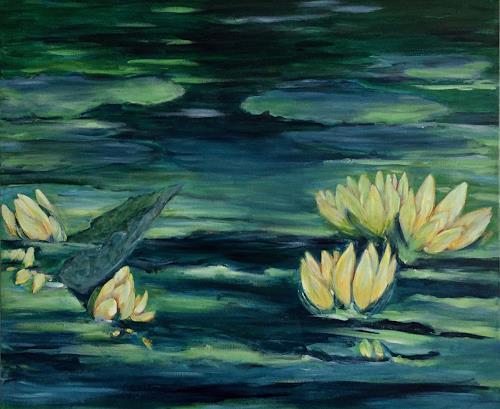 Amigold, Ninfee, Landschaft: See/Meer, Pflanzen: Blumen, Gegenwartskunst