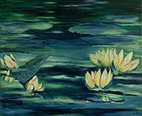 Amigold-Landschaft-See-Meer-Pflanzen-Blumen-Gegenwartskunst-Gegenwartskunst