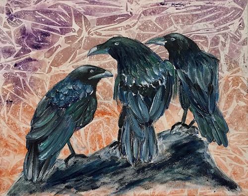 Amigold, Drei Raben, Tiere: Luft, Gegenwartskunst, Expressionismus