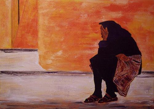 Amigold, Alte in Essaouira - Marocco, Menschen: Frau, Abstrakte Kunst