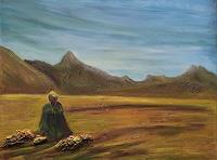 Amigold-Landschaft-Ebene-Moderne-Abstrakte-Kunst