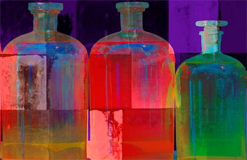 Miriam Stone, bottles ii, Wohnen: Zimmer, Stilleben, Gegenwartskunst, Expressionismus
