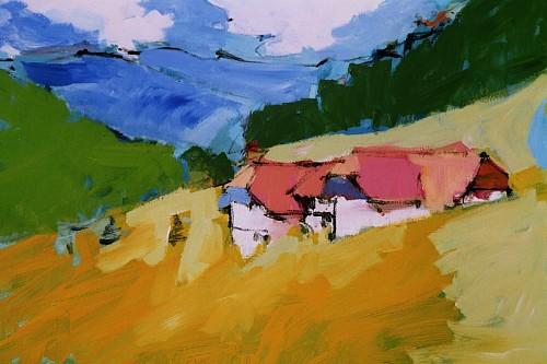 Good Max Köhler, Brüderschaft Im Schwarzwald, Bauten: Haus, Landschaft: Berge,  Impressionismus